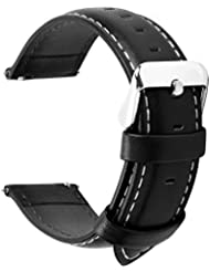 12 Colors for Quick Release Leather Watch Band, Fullmosa Axus Genuine Leather Watch Strap 22mm Black
