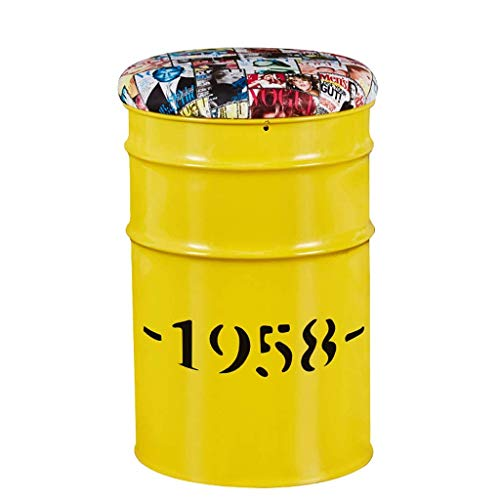 JPJBY European Retro Industrial Oil Barrel Bar Chair Metal Personality Retro Style Bar Stool (Color : Yellow)