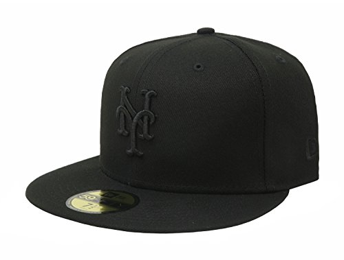 MLB New York Mets Black on Black 59FIFTY Fitted Cap, 7 5/8