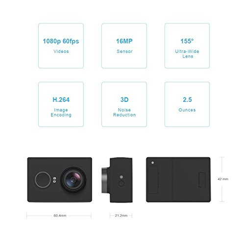 YI 88001 16MP Action Camera with High-Resolution WiFi and Bluetooth, Black