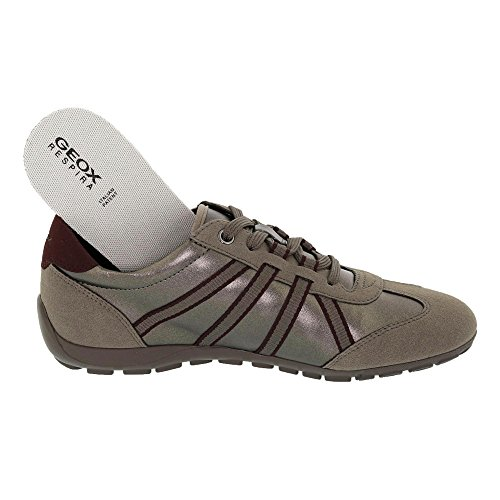 Geox D746da Ravex Sneaker Da Donna Sportiva, Scarpa Stringata, Scarpa Casual, Serpente, Traspirante, Grigio Tortora / Grigio Talpa