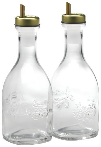 Bormioli Rocco Quattro Stagioni 2-Piece Oil Bottles with Spout, Gift Boxed Home Supply Maintenance Store