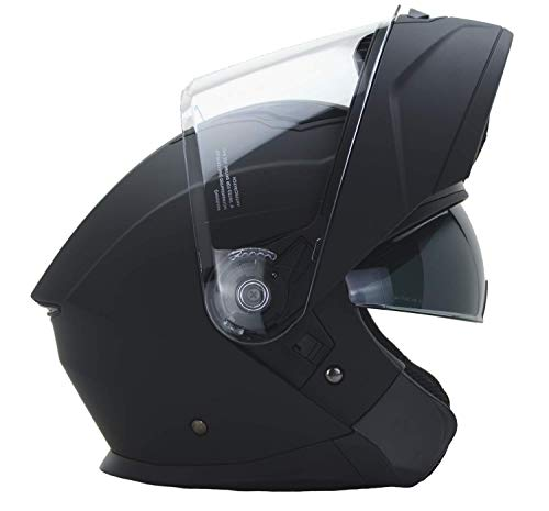Vega Helmets Unisex-Adult Caldera Modular Motorcycle & Snowmobile Helmet 30% Larger Shield and Sunshield (Matte Black, Large)