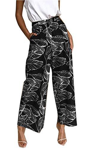 Vacances De Casual Motif Asskdan Longue Bohème Noir Lâche Femme Pantalon Pantalons w0wqSXY