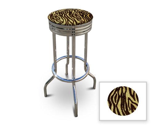 New 29'' Tall Chrome Metal Finish Swivel Seat Bar Stools with Tan Zebra Print Burlap Seat Cushions! by The Furniture Cove