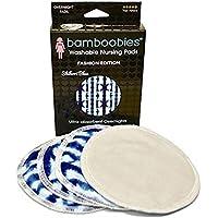 Bamboobies Washable Reusable Overnight Nursing Pads with Leak-Proof Backing for Breastfeeding, Shibori Blue, Ultra…