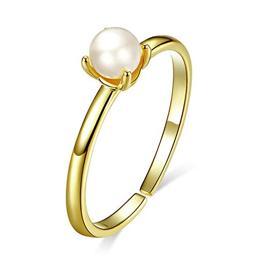 J.Memi's Ring Pearl for Women 925 Sterling Silver Gold Plating Engagement Adjustable Jewelry Party Ring Passt Evening Dress for Bridesmaid,Gold (Skins Passt)