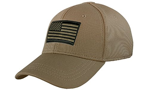Condor Fitted Tactical Cap Bundle (USA/DTOM Patches) - Coyote L/XL ()