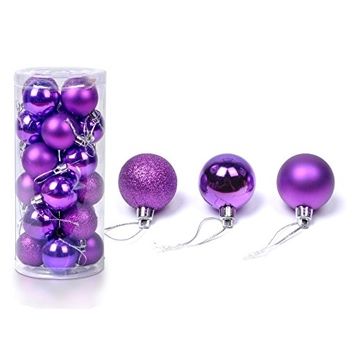 FinalZ Shatterproof Shiny and Polshed Glossy Christmas Tree Ball Ornaments Decorations Pack of 24 (Purple, 1.5)