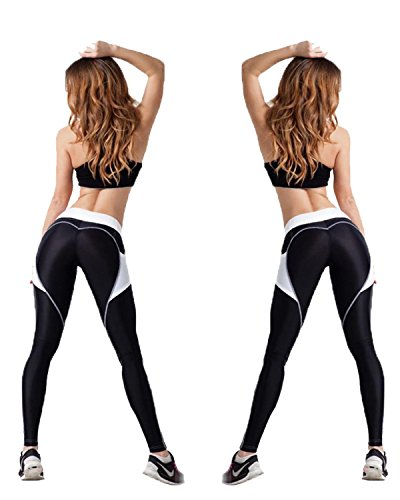 CYMF Yoga Pants Sport Leggings Exercise Workout Heart Patchwork Elastic Compression (Mesh Shorts Heart)