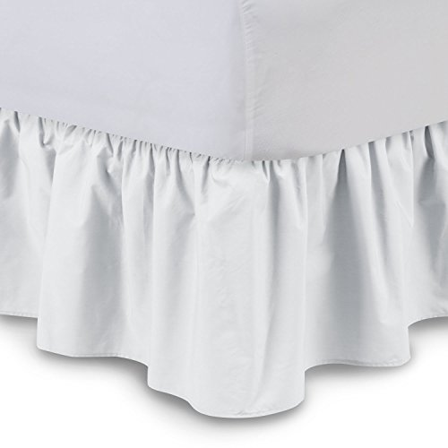 Shop Bedding Ruffled Bed Skirt (Queen, White) 14 Inch Drop Dust Ruffle with Platform, Wrinkle and Fade Resistant - by Harmony Lane (Available in all bed sizes and 16 colors)