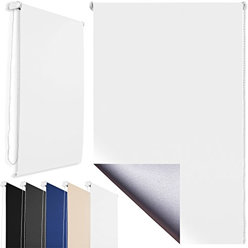 Thermo-Rollo Klemmfix ohne Bohren + Verdunkelung und Beschichtung + 80 x 160 cm Weiß + weitere Farben und Größen verfügbar