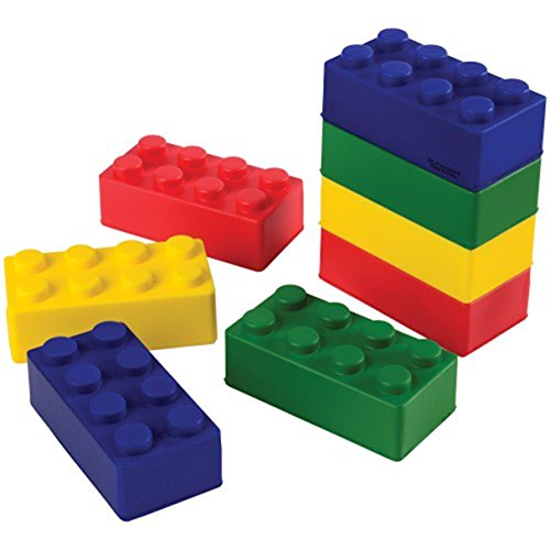 Assorted Color Foam Building Block Inspired Stress Squeeze Toys (12) (Foam Brick Blocks)