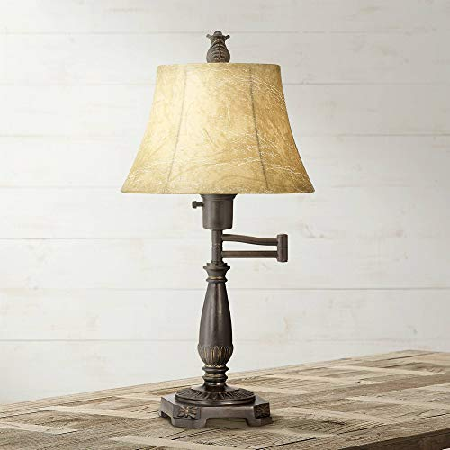Traditional Accent Table Lamp Swing Arm Bronze Metal Faux Leather Bell Leather Shade for Living Room Family Bedroom - Regency Hill ()