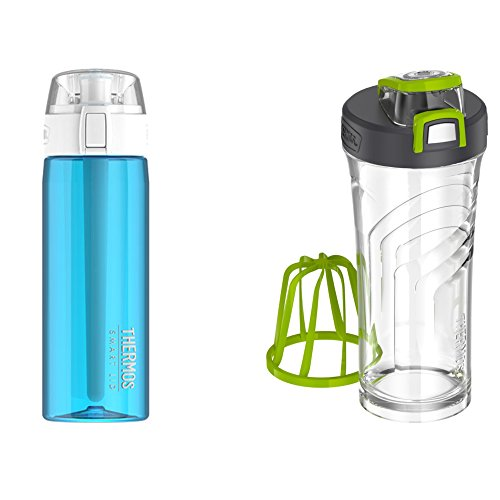 Thermos Connected Hydration Water Bottle and Shaker Bottle with Integrated Stationary Mixer Fitness Bundle