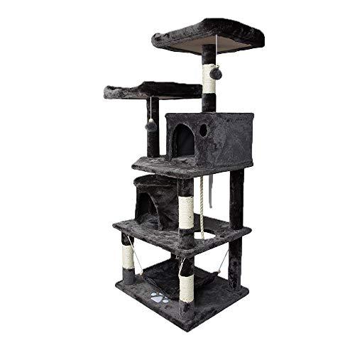 Aufun Stabiler Kratzbaum 145 cm hoch Kletterbaum für Katzen mit Häuschen und Liegemulde, Plüsch-Sitzmulden, Sisal…
