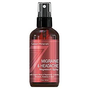 Migraine & Headache Pain Relief Magnesium Essential Oil Spray - 100% Natural & Organic - Made in USA - Free Guide Included