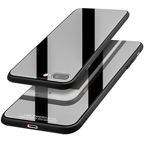 REALIKE Iphone7 Plus Case /Iphone 8 Plus Case With Anti- Scratch Black Color Tempered Glass Cover in Slim Fit Reinforced Bumper
