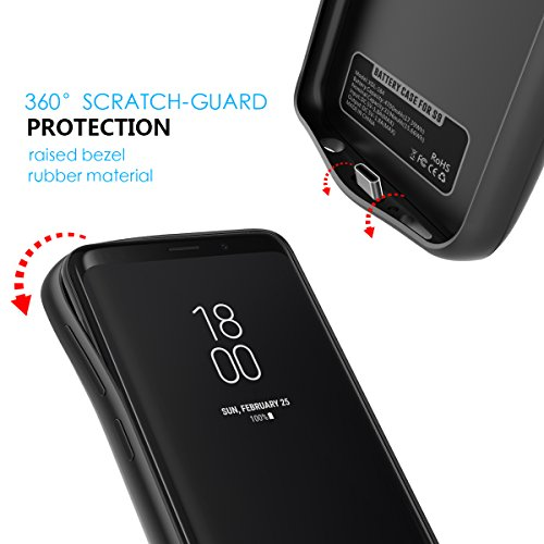 size 40 c8a76 ba017 Moonmini Samsung Galaxy S9 Plus Battery Case, For Samsung Galaxy S9 Plus  5200mAh Rechargeable Portable External Battery Charger Pack Extended Power  ...