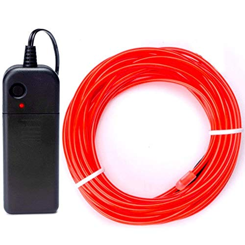 KingCorey EL Wire Portable neon line, Battery-Powered electroluminescent line Lighting gated Decorative Light for Christmas Party bar (5M/16, Red)