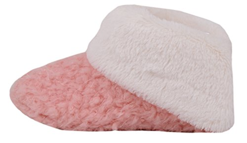 Absolute Footwear Womens Faux Fur Slip On Bootie Slippers/Shoes with Roll Down Cuff Pink k35cXk