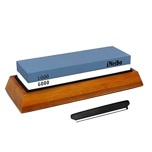 iNeibo Double Side Whetstone Sharpening Stone Knife Blade Sharpener 1000 Grit Coarse/ 6000 Grit Fine 2 in 1 with Anti-corrosion & Bamboo Holder Base by iNeibo