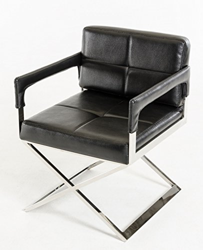 Limari Home Benichia Collection Classically Modern Upholstered Bonded Leather Accent Chair with Arms and Stainless Steel Crossed Legs, Black - Classic 30 Inch Directors Chair