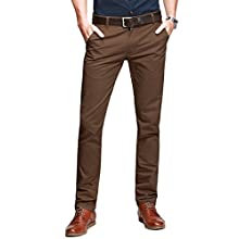 Men's Slim Tapered Flat Front Casual Pants