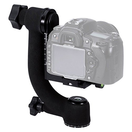 SHOOT Aluminum Alloy 360 degree Panoramic Gimbal Tripod Head Ball Mount Tray for Canon Nikon DSLR SLR Camera Telephoto Lens (Supports up to 44lbs) (Slr Gimbal)