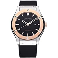 Veadons Luxury Men's Automatic Mechanical Watches Stainless Steel Waterproof Rubber Strap Wrist Watch