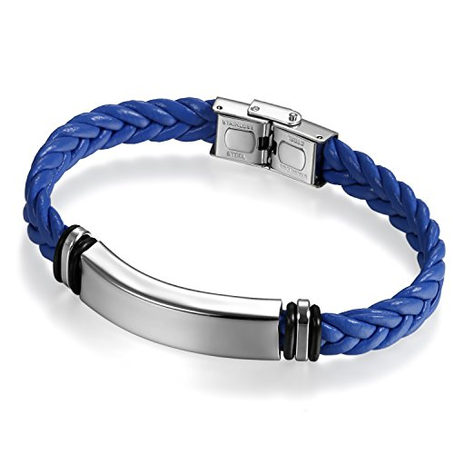 Stainless Steel Blue Leather (Flongo Free Engraving Men's Women Silver Tone Stainless Steel Blue Braided Leather Cuff Bracelet Bangle, 8.66 inch)