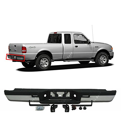 MBI AUTO - Steel Chrome, Complete Rear Step Bumper Assembly for 1993-2011 Ford Ranger, FO1102306