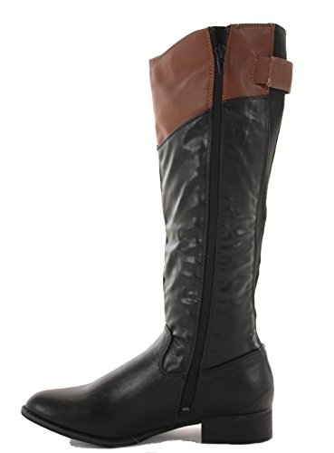High Knee Style Heel Winter Chelsea E Ladies Over Riding 8 Flat Calf Black new Thigh Biker Leg Boots Wide 3 Low Size Womens Style q0qIwO4Z