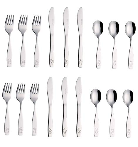 Exzact Stainless Steel 18 PCS Childrens Flatware/Cutlery Set - 6 x Forks, 6 x Safe dinnerknives, 6 x Dinner Spoons - Dog Cat Bunny Design by Exzact