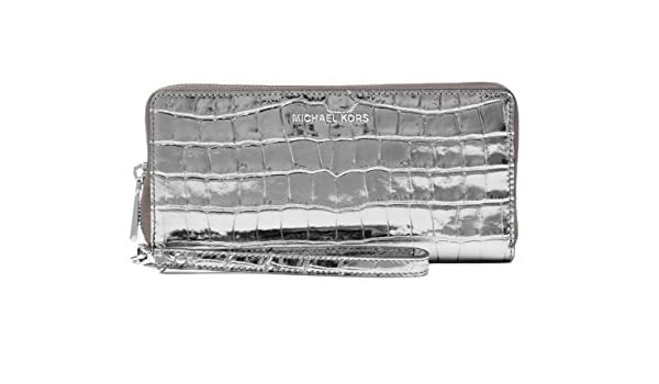 f8f3f4a4ce72 MICHAEL Michael Kors Jet Set Travel Metallic Crocodile-Embossed-Leather  Continental Wristlet - Gunmetal: Handbags: Amazon.com
