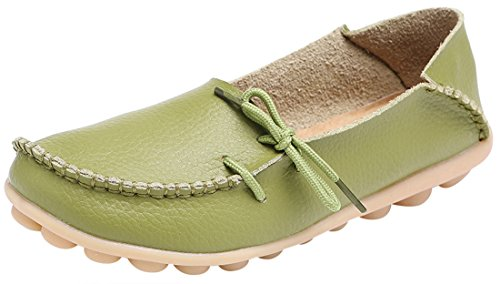 (Serene Womens Leather Cowhide Casual Lace up Flat Driving Loafers)