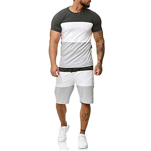 Striped Patchwork Jogging Sets for Men,Short Sleeve Tops+Drawsting Short Pants Sports Suit Tracksuit Sweat Suits by Leegor Dark Gray