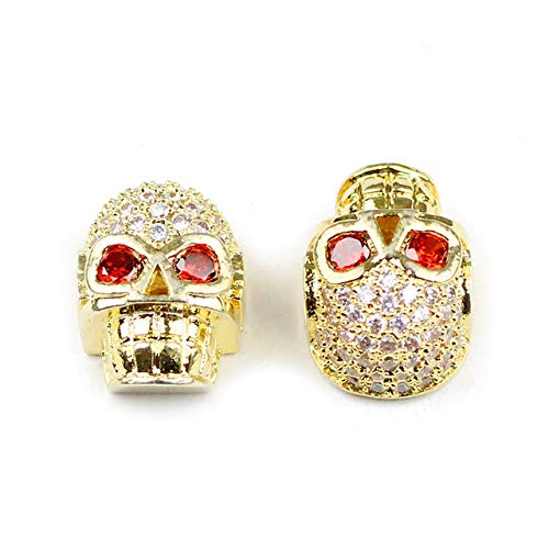 - Calvas 2pcs Skull Pendant Copper Spacer Beads Red Micro Pave CZ Charms Loose Beads Jewelry Bracelet&Bangle Making DIY Findings - (Color: Gold-Color, Item Diameter: 2pcs)