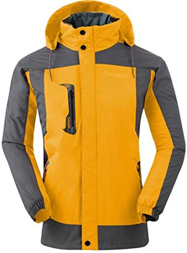ARRIVE GUIDE Mens Vouge Loose Waterproof Thicken Hiking Outer Jackets Yellow - Vouge Mens