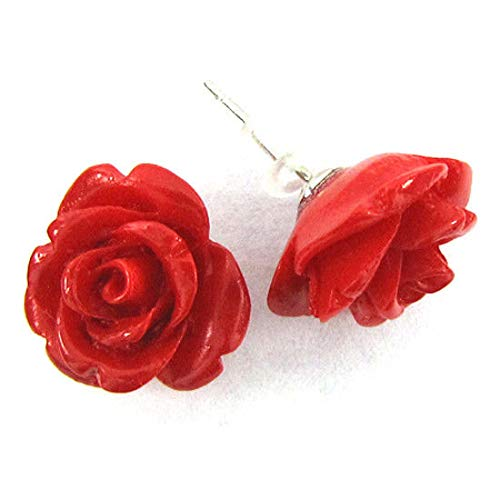 15mm Synthetic Coral Carved Rose Flower Earring Pair red (Carved Flower Coral Rose)