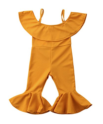 Greenafter Baby Kids Girl Ruffle Romper Jumpsuit Overalls Bell Casual Long Pants (Yellow, 1-2Years) ()