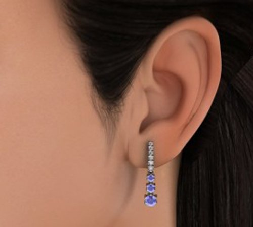 14K Or blanc 0,37carat au total Round-cut-diamond (IJ | SI) et tanzanite Boucles d'oreilles pendantes