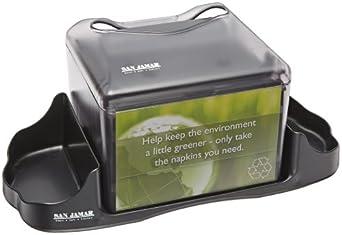 "San Jamar H4005 Venue Table Top Fullfold Control Napkin Dispenser with Caddy, 200 Capacity, 14-1/4"" Width x 6-1/8"" Height x 6-1/8"" Depth, Black Pearl"