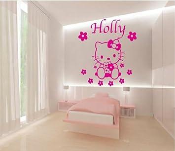 Vinilos Hello Kitty Pared.Hello Kitty Nombre Y Diseno De Flores Arte De Pared Vinilo