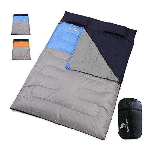 Camel Crown Double Sleeping Bag Waterproof Removable Warm Weather Queen Size XL Sleeping Bags Spit Into 2 Bags Lightweight For 3 Seasons 40 60 Degree Backpacking With Compression Sack