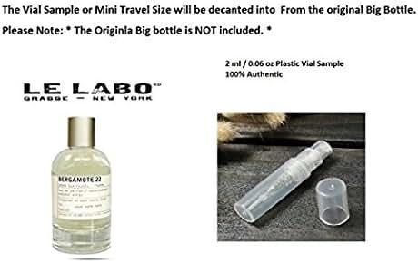1 x Le Labo BERGAMOTE 22 EAU DE PARFUM 2 ml 0.06 oz Mini Plastic Size 100% Authentic