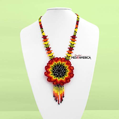 Handmade Mexican Beadwork Necklace Quetzalli Huichol Beaded Necklace