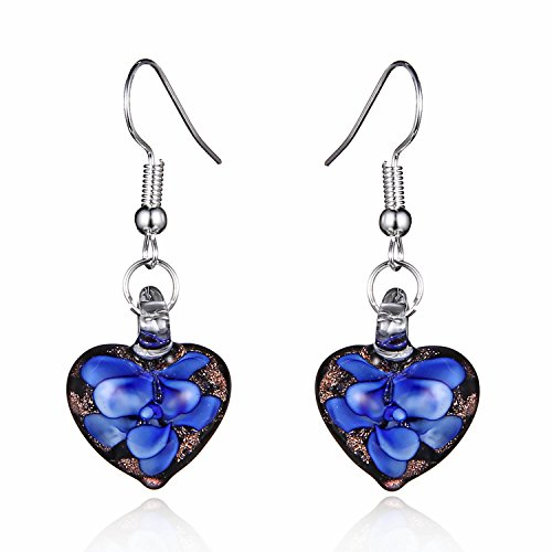 Murano-style Glass Black and Blue Flower Heart (Murano Glass Necklace Earrings)