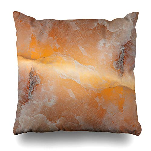 (Ahawoso Throw Pillow Covers Brown Onyx Stone Marble Nature Natural Abstract Floor Agate Milky Design Home Decor Zippered Pillowcase Square Size 20 x 20 Inches Cushion)