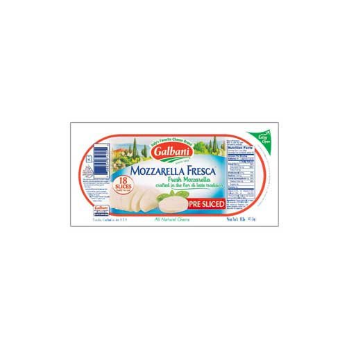 Galbani Fresh Mozzarella Cheese Pre-Sliced Log, 16 Ounce -- 6 per (Sliced Log)